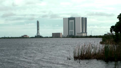 Stock Video Footage of USA Cape Canaveral 053 Missile Construction Hall behind Water