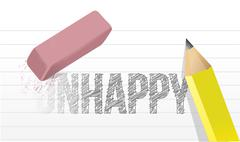 erasing unhappy concept illustration design over a white background - stock illustration