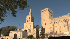 Avignon France Papal Palace & Cathedral wideshots Stock Footage