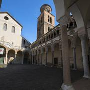 cathedral of salerno: the courtyard - stock photo