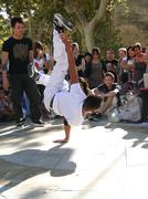 Avignon, france - oct 1:hip-hop breakdancers compete in pairs, on the plaza o Stock Photos