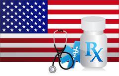 Us healthcare flag and medicine illustration design graphic Stock Illustration