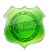 Organic product shield guaranty illustration design over white Stock Illustration