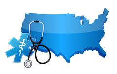 usa healthcare concept with a stethoscope illustration design over white - stock illustration