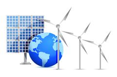 Vaihtoehtoisten energialähteiden (aurinkokenno, maa, tuulivoimala) kuvitus desig Piirros