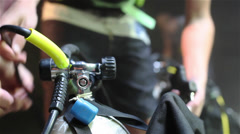 Prepping Scuba Gear - stock footage