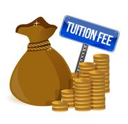 Bag with tuition fee illustration design over a white background Stock Illustration