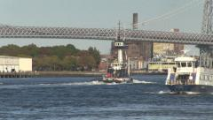 River tug and water taxi, New York Stock Footage