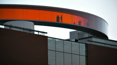 0216 AROS. Circular, panoramic walkway  in the rainbow colors. art museum Stock Footage