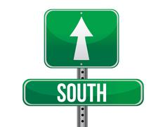 road sign to the south geographical direction illustration design over white - stock illustration