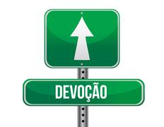 devotion in portuguese traffic road sign illustration design over white - stock illustration
