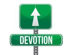 devotion traffic road sign illustration design over white - stock illustration
