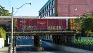 Stock Photo of boxcar on bridge