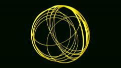 4kSphere made from random rotating hoops Spiral Abstract Motion Black Background Stock Footage