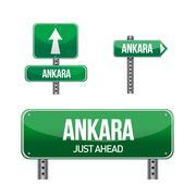 Stock Illustration of ankara city road sign illustration design over white