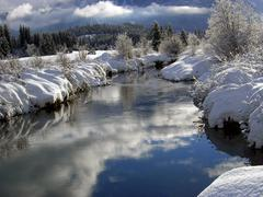 Whistler Creek in Whislter Valley, ski resort near Vancouver, British Columbia - stock photo
