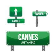 Cannes city road sign illustration design over white Stock Illustration