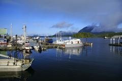 Fishing dock in tofino on the vancouver island, with yachts and boats anchored. Stock Photos