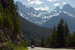 northern cascades mountains road - stock photo