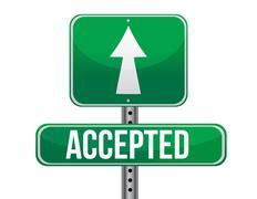 accepted road sign illustration design over a white background - stock illustration