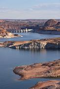 glen canyon dam and lake powell landscape - stock photo