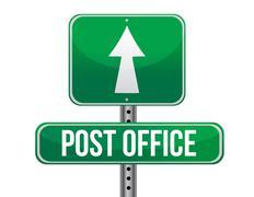 post office road sign illustration design over a white background - stock illustration