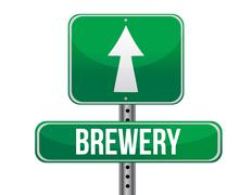 brewery road sign illustration design over a white background - stock illustration