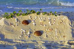 "Inscription ""Joyeux Noel"" on a sand Stock Photos"