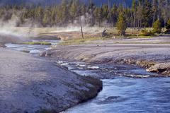 toxic river in yellowstone national park - stock photo