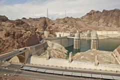 hoover dam - previously known as boulder dam - stock photo