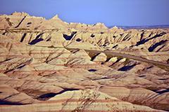 Eroded sandstone in badlands national park Stock Photos