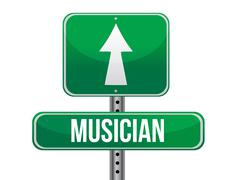 Stock Illustration of musician road sign illustration design over a white background