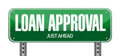 loan approval road sign illustration over a white background - stock illustration