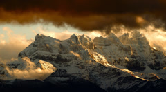 Timelapse- Swiss Alps under amazing snow clouds - stock footage