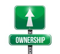 ownership road sign illustrations design over white - stock illustration