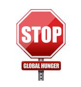 stop global hunger sign illustration design over white - stock illustration