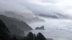 Forest Fog and Ocean Rain Time Lapse - stock footage