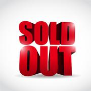 Sold out 3d text sign illustration design over a white background Stock Illustration