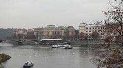 Praha or Prague - river bus Stock Footage