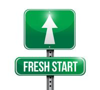 Stock Illustration of fresh start road sign illustration design over white