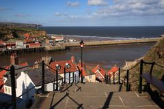 View down the steps to the harbour whitby Stock Photos