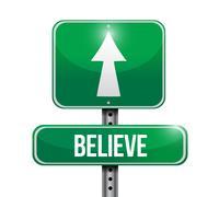Stock Illustration of believe road sign illustration design over a white background