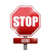 Stock Illustration of stop aging road sign illustration design over a white background