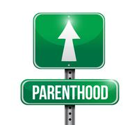 Parenthood road sign illustration design over a white background Stock Illustration