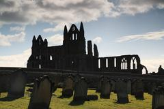 silhouette of whitby abbey - stock photo