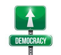 democracy road sign illustration design over a white background - stock illustration