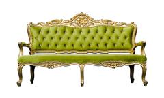 vintage luxury green sofa armchair isolated on white - stock photo
