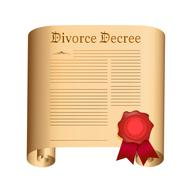 divorce decree old scroll with a wet seal illustration design over white - stock illustration