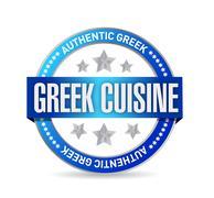 Stock Illustration of greek cuisine seal illustration design over a white background