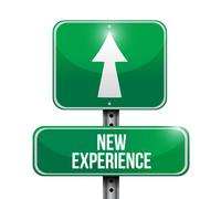 Stock Illustration of new experience road sign illustration design over a white background
